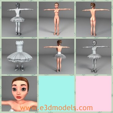 3d model the cartoon girl - This is a 3d model of the cartoon girl,who is naked and standing on the ground.The girl is pretty and made with big eyes.