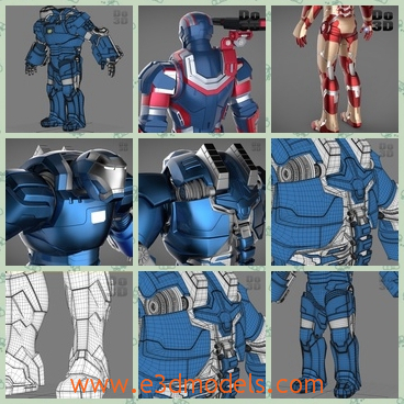 3d model the collection of robots - This is a 3d model of the collection of robots,which are red and blue.The model is the marvel character in the movie.