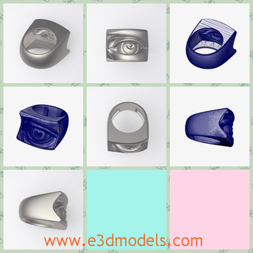3d model the eye ring - This is a 3d model of the eye ring,which is special and thick.The body of the ring is decorated with jewelry.