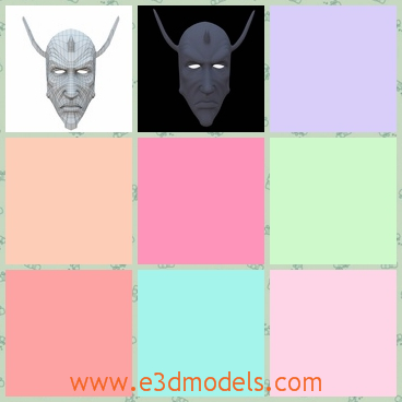 3d model the face mask - This is a 3d model of the face mask,which is the demon face with the lighting eyes and the horns.