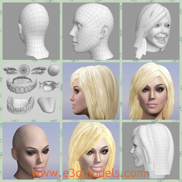 3d Model The Female Head Share And Download 3d Models At E3dmodels