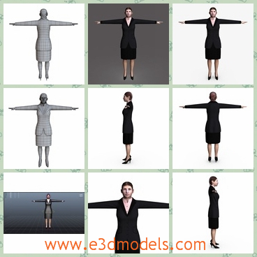 3d model the female in the suit - This is a 3d model of the female in the suit,who is having the office clothes with her and she is a businesswoman.