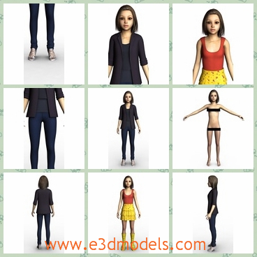 3d model the female named Jane - This is a 3d model of the female Jane,who is skining and she is presented by various dresses.Shee has short hair and wears the high heeled shoes.