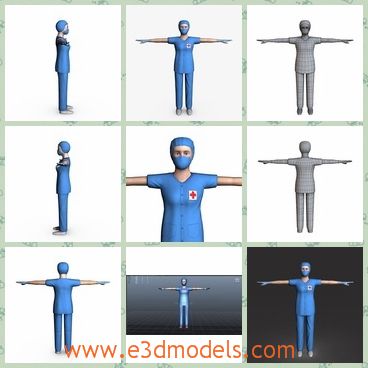 3d model the female surgeon in blue - This is a 3d model of the female surgeon in blue,which is standing with her arms unbending.The surgeon has a mouth-muffle with her.