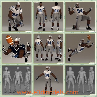 3d model the football player in 94 - This is a 3d model of the football player in 94,who is strong and he is a black from America and the athlete is running.