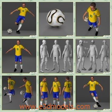 3d model the football player of Brazil - This is a 3d model of the football player of Brazil,which is the male kicker in number ten.He looks strong and tall.The ball in his hand looks so cool.