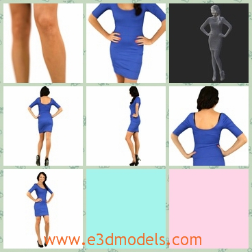 3d model the girl in blue - This is a 3d model of the girl in blue dress,who is sexy and hot.The dress is suitable for her.