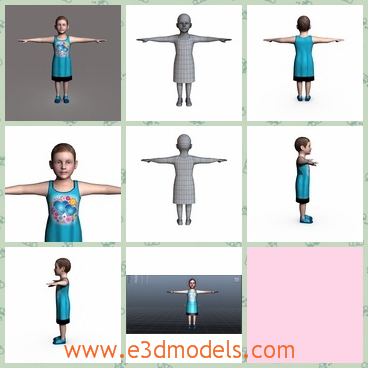 3d model the girl in blue dress - This is a 3d model of the girl in blue dress,who also has a pair of blue shoes on her feet.