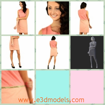 3d model the girl in pink dress - This is a 3d model of the girl in pink dress,who has long curled hair and she has high heeled black shoes.