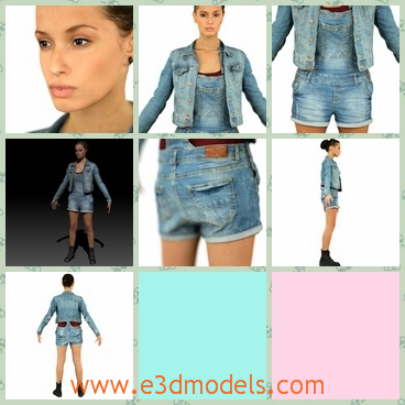 3d model the girl is jeans - This is a 3d model of the girl in jeans,who is standing on the floor with her hands opened.The girl is wearing a jacket and a pair of boots.