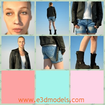 3d model the girl with a jacket - This is a 3d model of the girl with a jacket,who is tall and cool with the jacket and the boots.