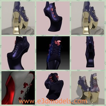 3d model the high heeled shoes - This is a 3d model of the high heeled shoes,which is made for women.The model is modern and popular.