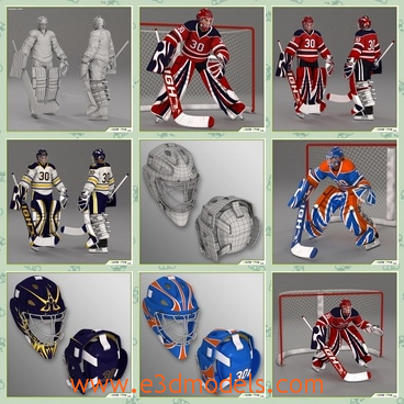 3d model the hockey goalkeeper - This is a 3d model of the hockey goalkeeper,which is the number ten in the uniform.The  model is a high poly composed by quads and triangles distributed across the topology in a well balanced way.