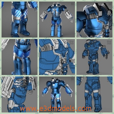 3d model the iron man in blue - This is a 3d model of the iron man in blue,which is strong and big.The body is marvellous to see and the legs are long and strong.
