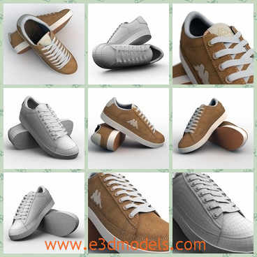 3d model the kappa shoes - This is a 3d model of the Kappa shoes,which are white and clean.The model is the new brand of the shoes and it is popular amongst the sports shoe.