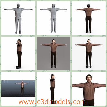 3d model the male in casual clothes - This is a 3d model of the male in casual clothes,which is standing on the floor and themodel is UV unwrapped.