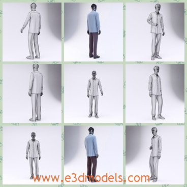 3d model the male mannequin - This is a 3d model of the male mannequin,which has the shirt and pants on.The model is a set of the high quality models to add more details.