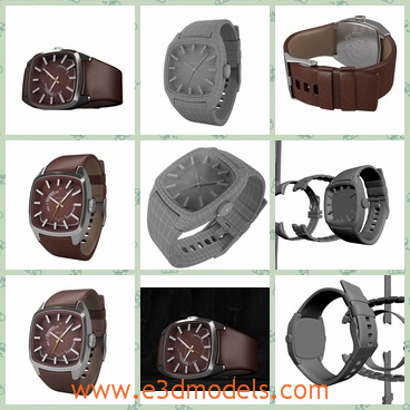 3d model the male watch - This is a 3d model of the male watch,which is fine and made in high quality.The model has a button to turn it on or off automaticly.