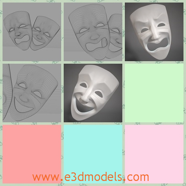 3d model the masks in the theater - This is a 3d model of the masks in the theater,which is showed in the comedy and tragedy.The faces show different expressions.