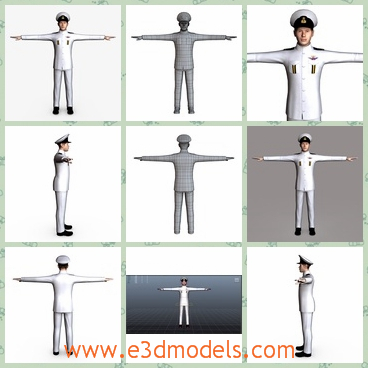 3d model the navy man with a hat - This is a 3d model of the navy man,which is a captain of a ship.His uniform is white and handsome,and the man belongs to the army.