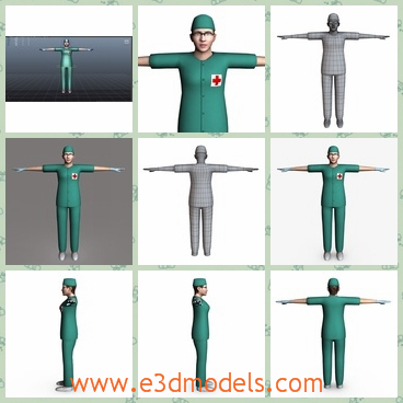 3d model the nurse woman with a hat - This is a 3d model of the nurse woman with a hat,which is tall and wearing a uniform.The model woman is going to the surgeon room.