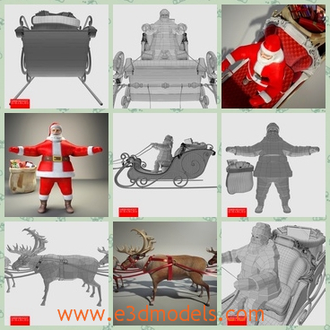 3d model the old man in the sled - This is a 3d model of the old man in the sled,which dressed the red clothes and the he drives the deers.