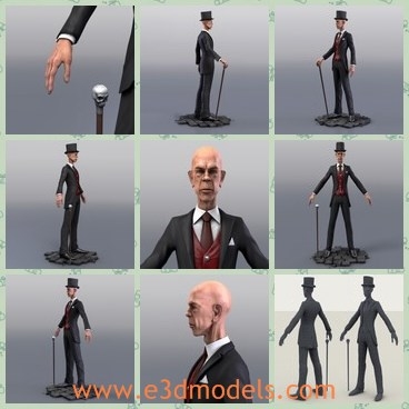 3d model the old man with a hat - This is a 3d model of the old man with a hat,who is thin ans short.The cane of the man is fine and elegant.