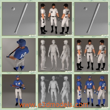 3d model the player number 12 - This is a 3d model of the player number 12,who is standing on the ground.The blue suit and cap is cool and outstanding.