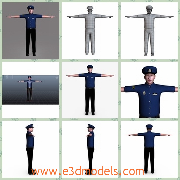 3d model the police in blue uniform - This is a 3d model of the police in the blue uniform,who has a hat on the head and the cop is an officer in the office room.