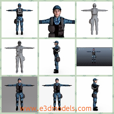 3d model the police officer - This is a 3d model of the police officer,which is strong and tall.The equipments with him are heavy but practical.