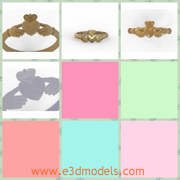 3d model the ring with a heart - This is a 3d model of the ring with a heart,which is cute and charming.The ring will be presented in the wedding ceremony.