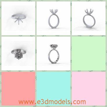 3d model the ring with jewelry - This is a 3d model of the ring wirh jewelry,which is the engagement ring.The ring will be showed in the wedding.
