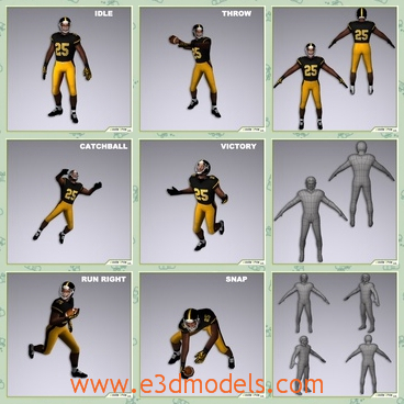 3d model the running player - This is a 3d model of the player,who is running and he is the American type.The model has a helmet on his head and the uniform is cool.