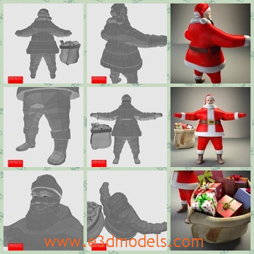 3d model the Santa Claus with a cap - This is a 3d model of the Santa Claus,who has a red suit.The red cap is lovely on his head.The model is big and fat,but very cute.