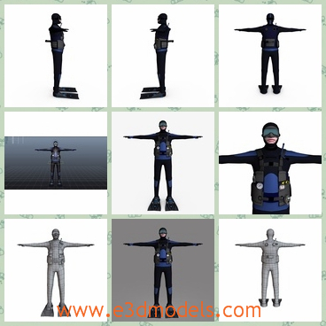 3d model the scuba diver with a wetsuit - This is a 3d model about the scuba diver with a wetsuit,which has a cover on his eyes and the rig is fit for the water sports.