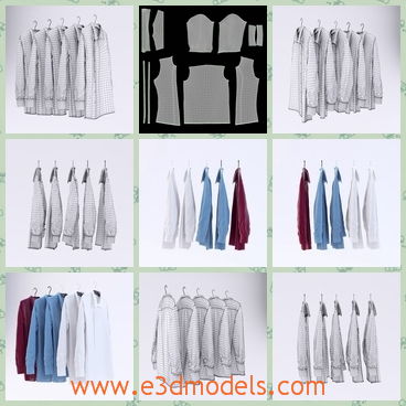 3d model the shirts in different colors - This is a 3d model of the shirts in different colors,which are tidy and clean.The shirts are hanged on the hangers and arranged very neat.