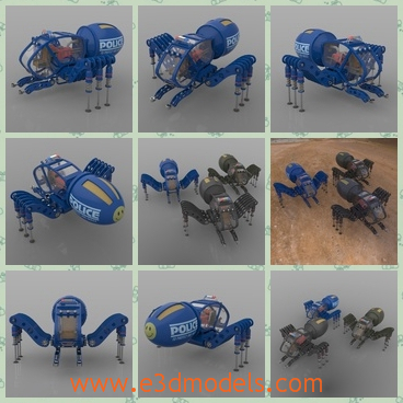 3d model the spider robot - This is a 3d model of the robotic spider,which is blue and cute.The modelis inspiredby Mother Nature and many scientists, engineers and designers.