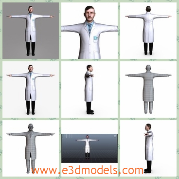 3d model the surgeon man in white - This is a 3d model of the surgeon man in white,which has mustache with him and the body is streight.The model has a coat with him.