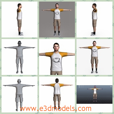 3d model the teen boy in a T-shirt - This is a 3d model of the teen boy in a T-shirt,who has a shorts and the model is strong and tall.