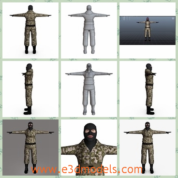3d model the terrorist with a mask - This is a 3d model of the terrorist with a mask,which is dressed like a soilder and the body is strong and tall.