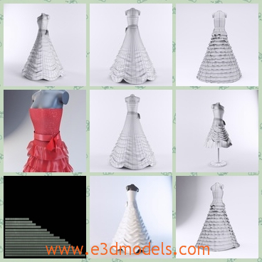 3d model the wedding dress - This is a 3d model of the wedding dress,which is white and pretty.The dress was designed for a woman who is going to get married recently.