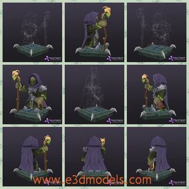 3d model the wizard in the darkness - This is a 3d model of the wizard in the darkness,which has an ugly cane in her hand.The model has a ocver on her back and the her face is not easy to see.