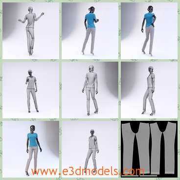 3d model the woman in blue - This is a 3d model of the woman in blue,who is the mannequin in the showroom and her body is slender and slim.