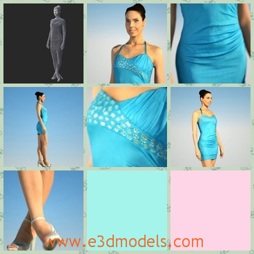 3d model the woman in blue dress - This is a 3d model of the woman in blue dress,who is pretty and tall.The dress is like a miniskirt at first sight.