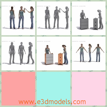 3d model the woman in jeans - This is a 3d model of the woman in jeans,who is walking and with high-heeled shoes.The model is created with vest.