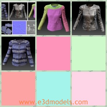 3d model the woman jacket - This is a 3d model of the woman jacket,which is realistic and made with zippers.The model is pretty.