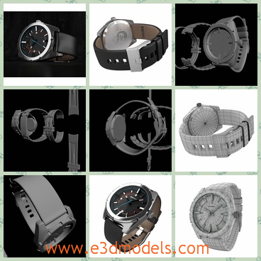 3d model the wristwatch - This is a 3d model of the wristwatch,which is the male brand.The model is created with the turbosmooth,which can be turned on and off with the button.