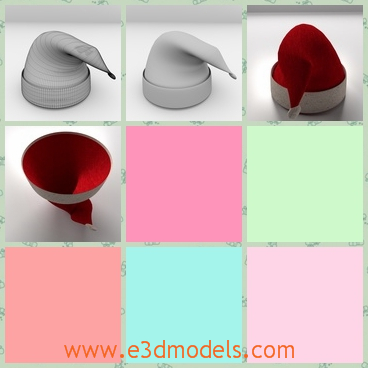 3d models of a Santa hat - These 3d models are about a Santa hat which is red in most part but the tip and the lower part are white.