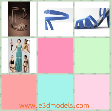 3d models of blue high-heeled shoes - Through these 3d models we can see pretty blue high-heeled shoes. These shoes have high heels and thin blue stripes to fasten your feet.