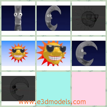 3d models of cartoon sun and moon - There are some 3d models of cartoon style sun and moon which are modelled in blender v2.69. These models are completed of materials and textures.